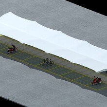 靠譜誠發小區摩托車停車棚,設計合理,膜結構圖片