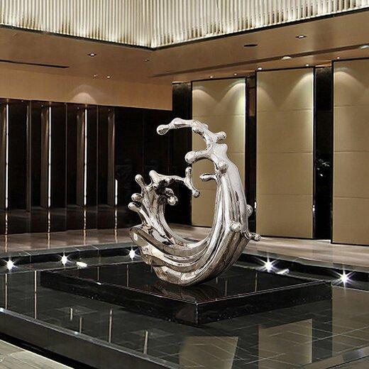 新疆不锈钢浪花雕塑制作,雕塑浪花