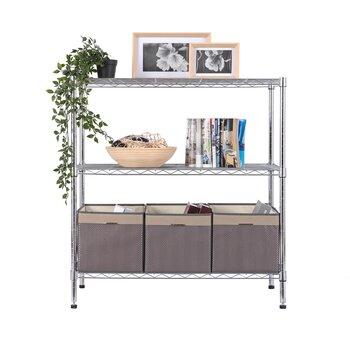 美之高廚用架置物架家用臥室置物收納架家用客廳臥室鍍鉻銀色三層置物架