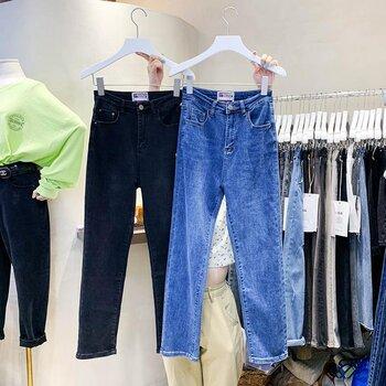 杂款牛仔裤批发韩版牛仔裤秋季新款直筒裤高腰弹力小脚裤