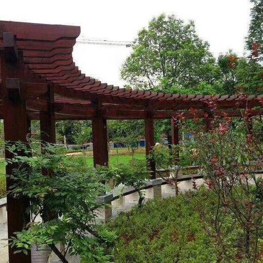 从化木花架建造