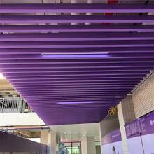 學校走道吊頂紫色U型鋁方通四方型材鋁格柵圖片