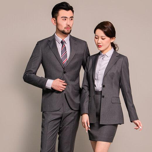职业装男女同款西装套装两件修身商务正装办公室销售工作服定制