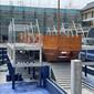 30米大型仿古船古戰船帆船網紅打卡攝影木船圖片