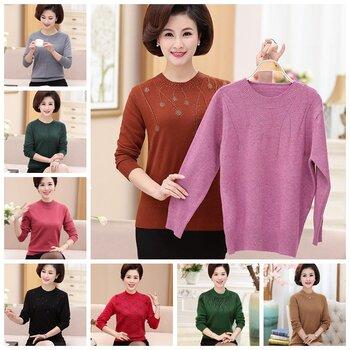 杂款40-60岁中老年女装外套新款妈妈装秋冬毛衣女大码针织厚开衫