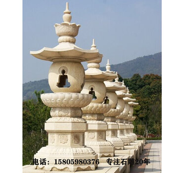供应七宝如来塔石雕寺院中应用石雕七佛塔镂空灯笼塔石雕