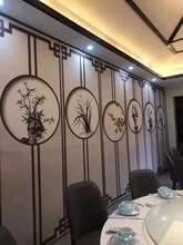 紹興市飯店包廂活動隔斷水墨山水畫移動隔斷包廂貼畫隔斷屏風圖片