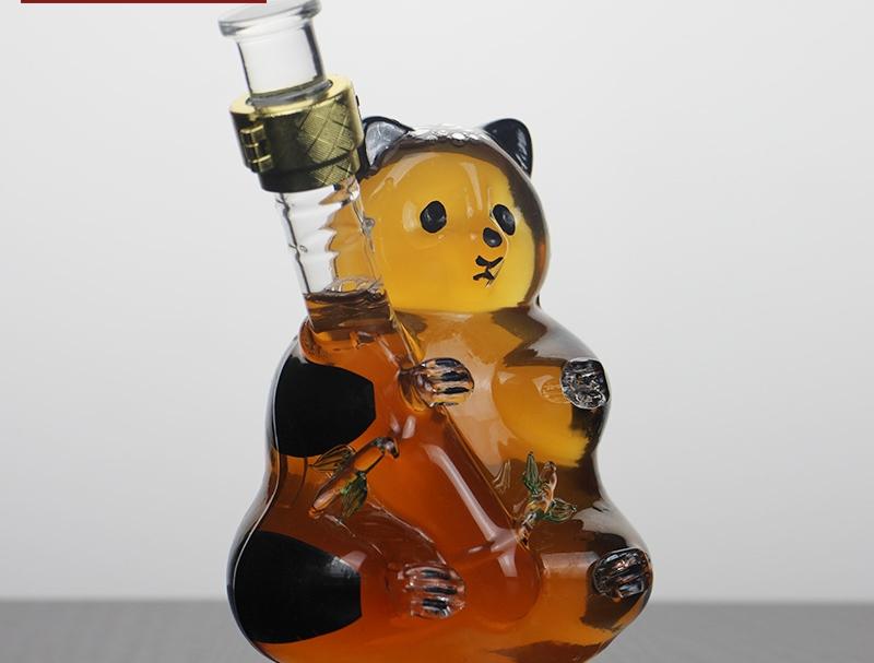 河间华企动物小狗造型酒瓶手工艺吹制玻璃泡酒瓶500ml